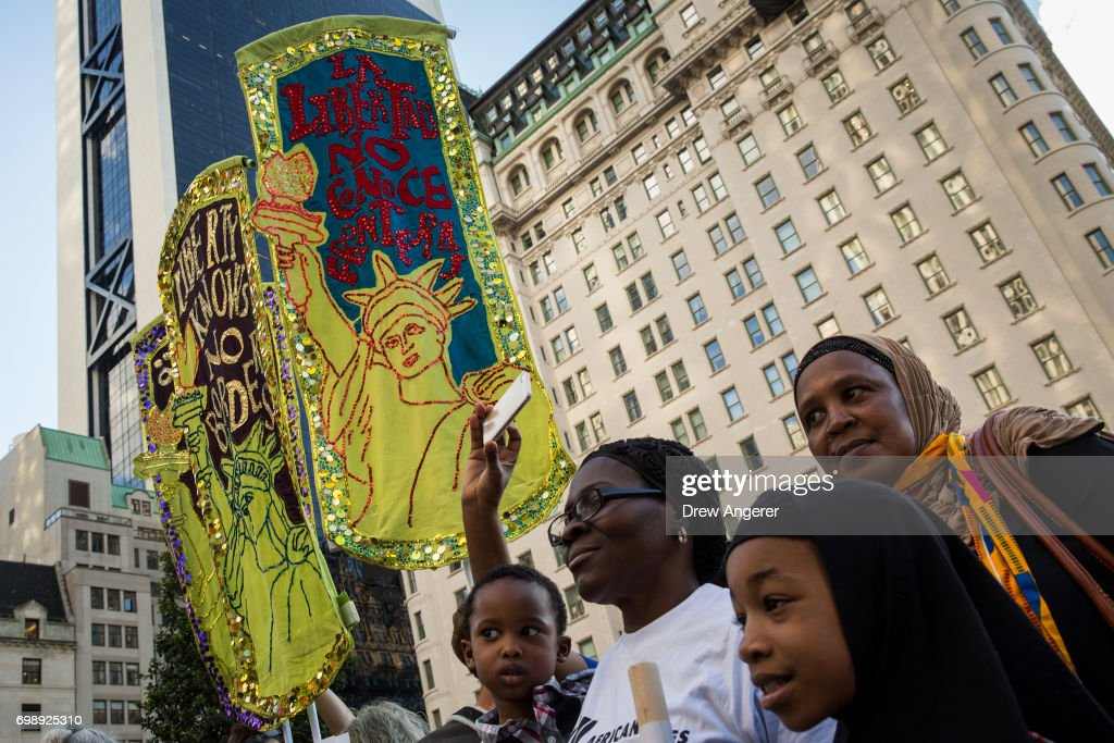 Immigration Activists Hold March And Rally On World Refugee Day : News Photo