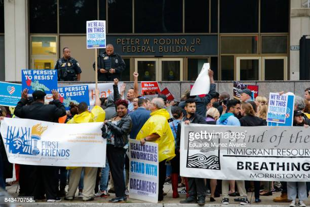 Immigration activists protest the Trump administration's decision to end the Deferred Action for Childhood Arrivals program on September 6 2017 in...