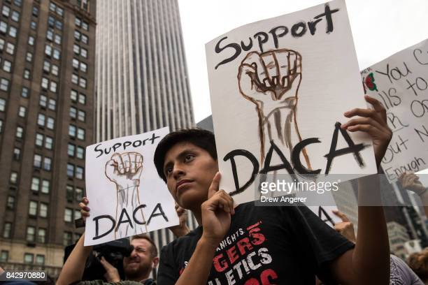 Immigration activists rally in support of the Deferred Action for Childhood Arrivals program during a protest in Grand Army Plaza in Manhattan...