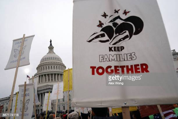 Immigration activists stage a protest in front the US Capitol December 6 2017 in Washington DC Activists urged the Congress to pass a clean Dream Act...