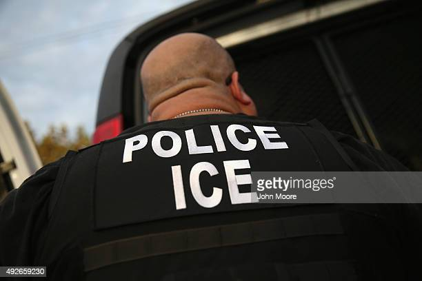 Immigration and Customs Enforcement , agents detain an immigrant on October 14, 2015 in Los Angeles, California. ICE agents said the immigrant, a...
