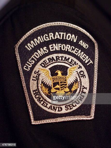 A Immigration and Customs Enforcement badge on a uniform is viewed on March 5 2014 at the preview of a temporary exhibition at the National Museum of...