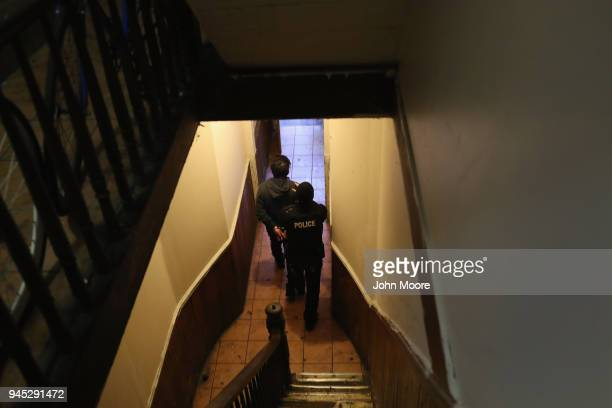 S Immigration and Customs Enforcement officers arrest an undocumented Mexican immigrant during an operation in the Bushwick neighborhood of Brooklyn...
