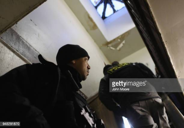 S Immigration and Customs Enforcement officers arrest an undocumented immigrant during an operation in the Bushwick neighborhood of Brooklyn on April...