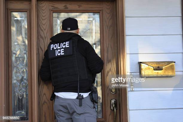 S Immigration and Customs Enforcement officers arrive to a Flatbush Gardens home in search of an undocumented immigrant on April 11 2018 in the...