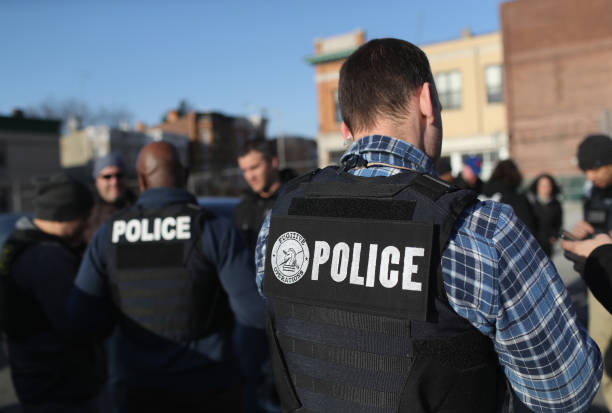 S Immigration and Customs Enforcement officers gather for a debriefing after operations to arrest undocumented immigrants on April 11 2018 in the...