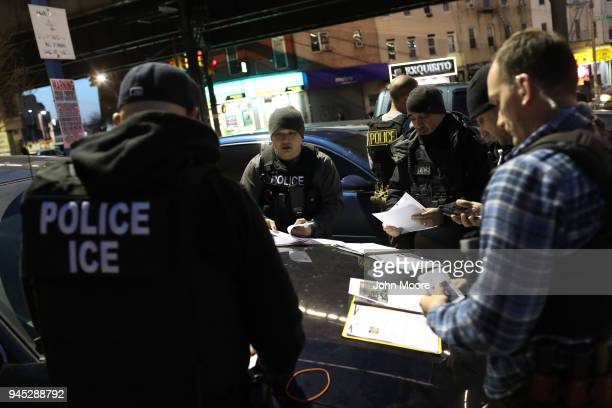 Immigration and Customs Enforcement , officers prepare for morning operations to arrest undocumented immigrants on April 11, 2018 in New York City....