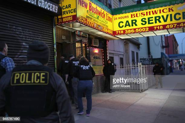 S Immigration and Customs Enforcement officers stage a raid to arrest an undocumented immigrant on April 11 2018 in New York City New York is...