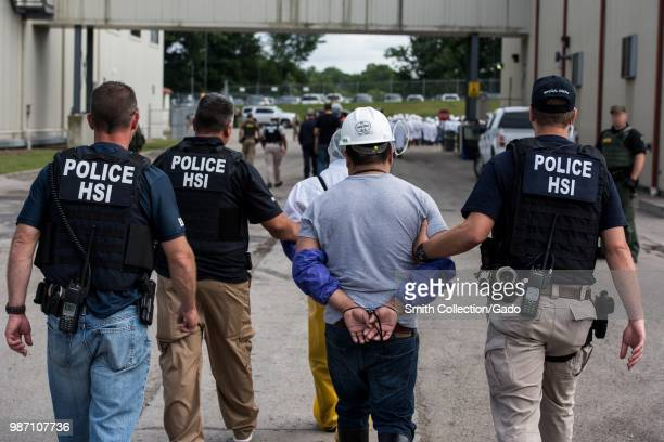 US Immigration and Customs Enforcement's Homeland Security Investigations special agents arrested alleged immigration violators at Fresh Mark Salem...