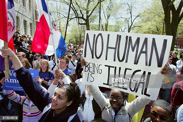Immigration demonstrators gather for a rally at Harvard Yard in solidarity with the national immigrant rights movement May 1 2006 at Harvard...