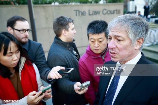 Immigration lawyer Richard Kurland is interviewed by media outside the BC Supreme Courthouse at the bail hearing for Huawei Technologies Chief...