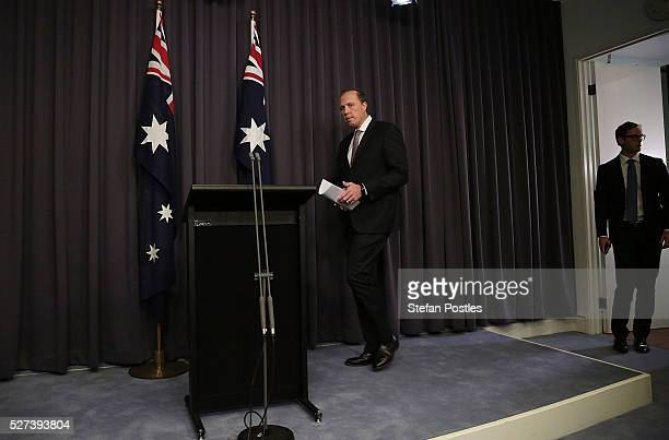 Immigration Minister Peter Dutton arrives at a press conference at Parliament House on May 3 2016 in Canberra Australia Hodan Yasin a 21yearold...