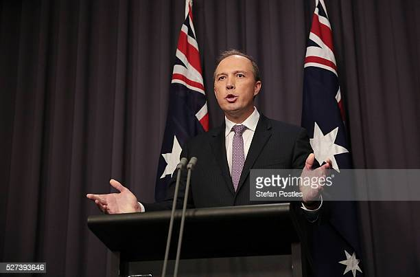 Immigration Minister Peter Dutton speaks to the media at Parliament House on May 3 2016 in Canberra Australia Hodan Yasin a 21yearold Somali refugee...