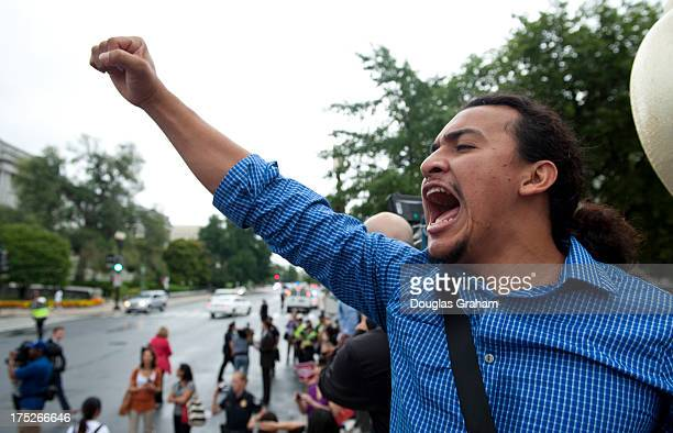 Immigration protesters from DREAMers and CASA in Action march down Independence Ave just off of the East Front of the US Capitol on August 1 2013