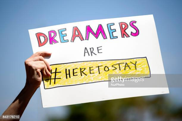 Immigration rights activists protest the Trump administrations termination of the DACA program Los Angeles California on September 5 2017 The...