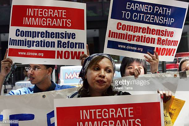 Immigration supporters rally outside of Sen Hillary Rodham Clinton's office May 15 2007 in New York City Proimmigrant advocates are concerned over...