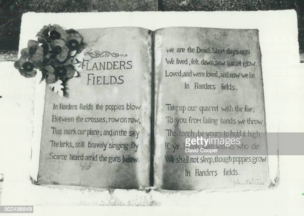 Immortal words This famous poem raread every Remembrance Day was written by Canadian John McCrae right in a dugout near Ypres in 1915 He died of...