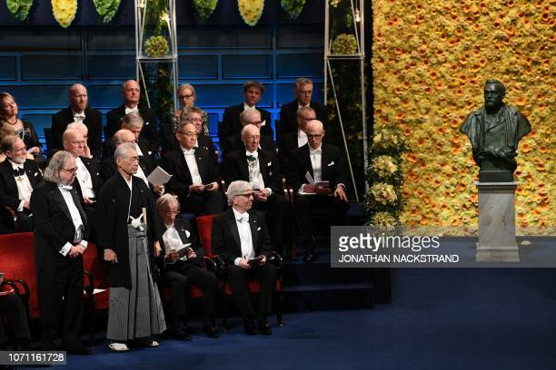 US immunologist and colaureate of the 2018 Nobel Prize in Physiology or Medicine James Allison and Japanese immunologist and colaureate of the 2018...