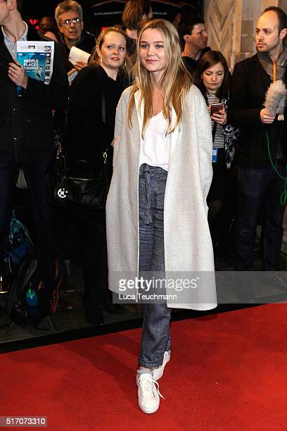 Immy WAterhouse arrives for Duncan Macmillan's new play 'People Places Things' at The National Theatre on March 23 2016 in London England
