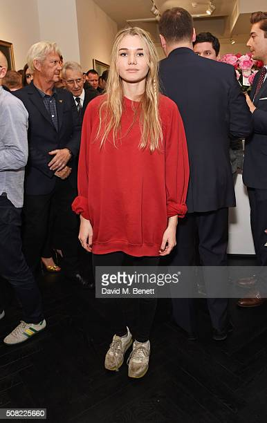Immy Waterhouse attends a private view of 'Decadence' the new exhibition by American photographer Tyler Shields at Maddox Gallery on February 3 2016...