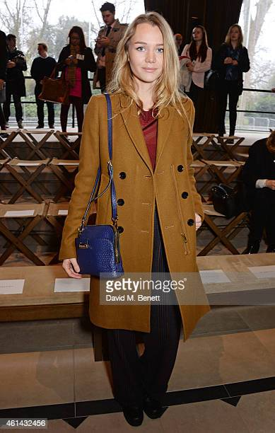 Immy Waterhouse attends the front row at Burberry Prorsum AW15 London Collections Men at Kensington Gardens on January 12 2015 in London England