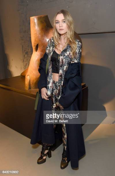 Immy Waterhouse wearing Burberry attends the Burberry February 2017 Show during London Fashion Week February 2017 at Makers House on February 20 2017...