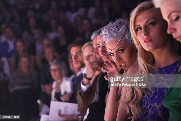 Imogen Anthony Erin Holland and Kate Peck sit front row during MercedesBenz Fashion Festival Sydney at Town Hall on September 24 2014 in Sydney...