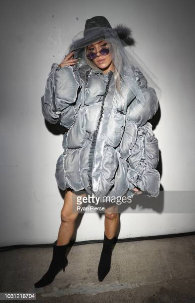 Imogen Anthony poses for portraits after the Stolen Girlfriends Club during New Zealand Fashion Week on August 29 2018 in Auckland New Zealand
