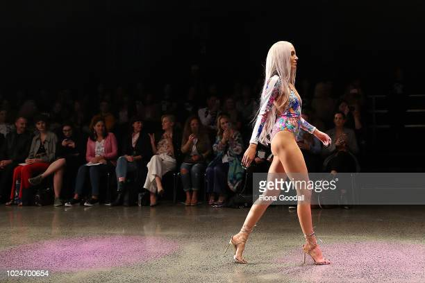 Imogen Anthony walks the runway in a design by Heaven Swimwear during the Swim and Activewear Collective show during New Zealand Fashion Week 2018 at...