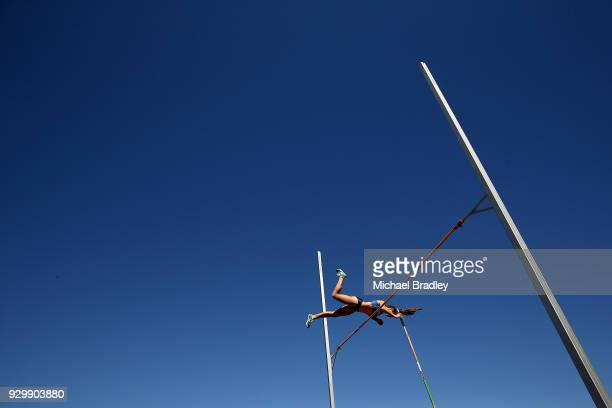 Imogen Ayris from Auckland competes in the Under 20 Pole Vault during the New Zealand Track Field Championships on March 10 2018 in Hamilton New...
