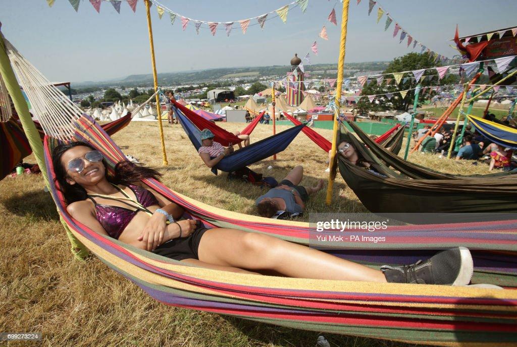 Imogen D'cruz from York in the Hammock Area during the Glastonbury Festival at Worthy Farm in Pilton, Somerset.