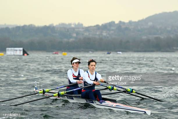 Imogen Grant and Emily Craig of Great Britain compete in the Lightweight Women's Double Sculls Heats during Day One of the European Rowing...