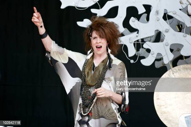 Imogen Heap performs on stage on the third day of Glastonbury Festival at Worthy Farm on June 26 2010 in Glastonbury England