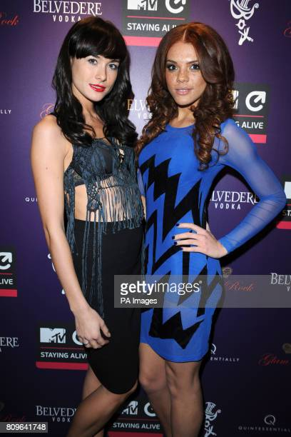 Imogen Leaver and Jade Thompson arriving at the MTV Staying Alive Foundation fundraiser at The Box Soho London