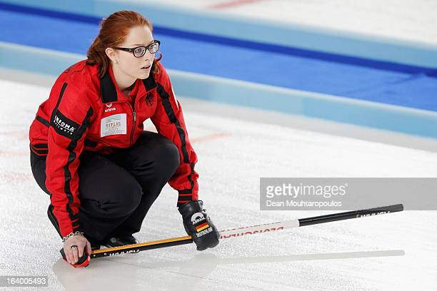 Imogen Oona Lehmann of Germany looks on in the match between Germany and China on Day 4 of the Titlis Glacier Mountain World Women's Curling...