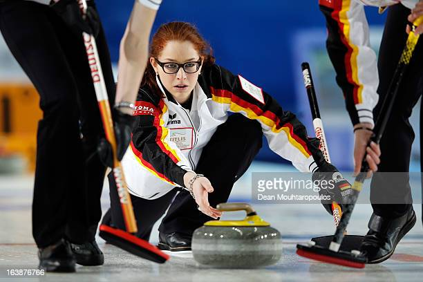 Imogen Oona Lehmann of Germany releases the stone in the match between USA and Germany during Day 2 of the Titlis Glacier Mountain World Women's...