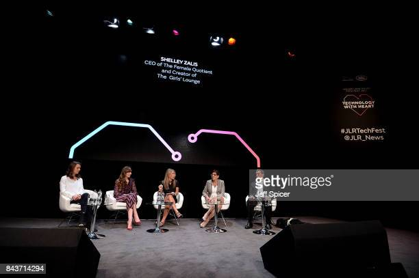 Imogen Pierce Michelle Kennedy Shelley Zalis Benita Mehra and Rt Hon Lord David Blunkett speak at the Technology with Heart Jaguar Land Rover's Tech...