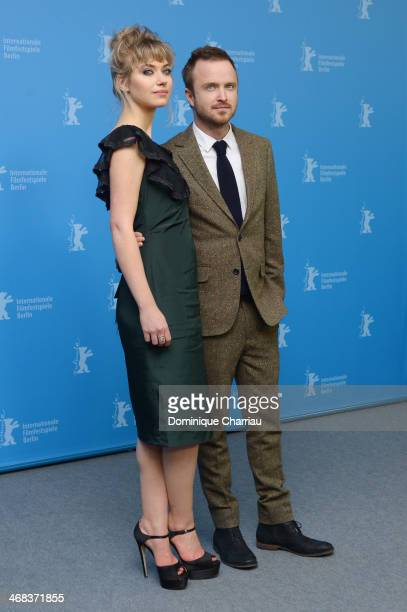 Imogen Poots and Aaron Paul attend the 'A long way down' photocall during 64th Berlinale International Film Festival at Grand Hyatt Hotel on February...