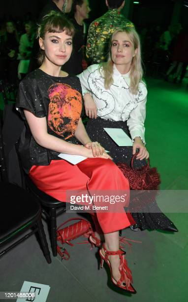 Imogen Poots and Alison Sudol attend the Christopher Kane show during London Fashion Week February 2020 at The Mail Centre on February 17 2020 in...