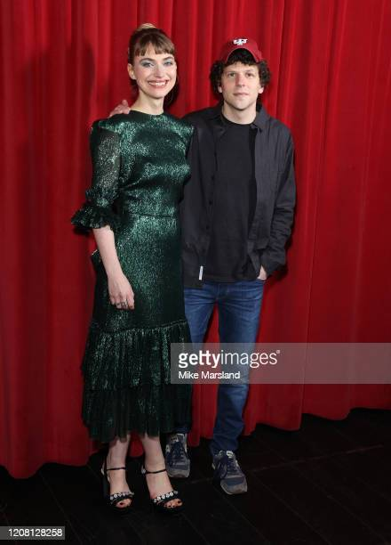 Imogen Poots and Jesse Eisenberg attend the Vivarium photocall at Curzon Soho on February 21 2020 in London England
