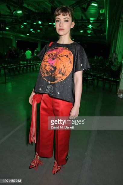Imogen Poots attends the Christopher Kane show during London Fashion Week February 2020 at The Mail Centre on February 17 2020 in London England