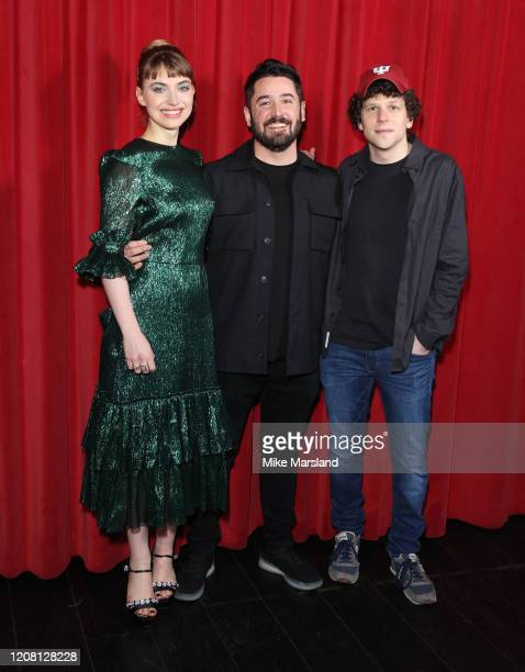 Imogen Poots Lorcan Finnegan and Jesse Eisenberg attend the Vivarium photocall at Curzon Soho on February 21 2020 in London England