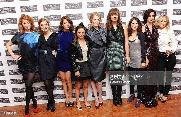 Imogen Poots Maria Valverde Director Jordan Scott Eva Green and Juno Temple arrive for the premiere of 'Cracks' during the Times BFI 53rd London Film...