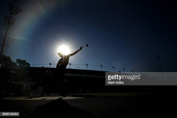 Imogen Taylor of Western Australia competes in the womens under 18s shot put on day two of the 2017 Australian Athletics Championships at Sydney...