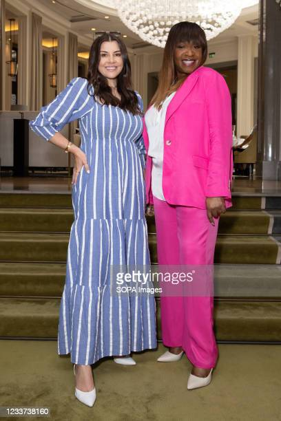 Imogen Thomas and Angie Greaves attend afternoon tea at Corinthia Hotel London in aid of Breast Cancer Now hosted by Angie Greaves and Concorde Media.
