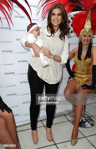 Imogen Thomas and baby daughter Ariana Siena attend the anniversary party of Tatiana hair extensions on April 18 2013 in London England