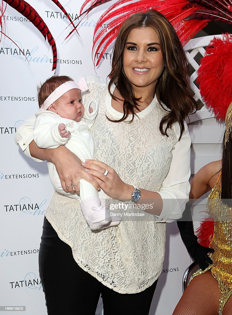 Imogen Thomas and baby daughter Ariana Siena attend the anniversary party of Tatiana hair extensions on April 18, 2013 in London, England.