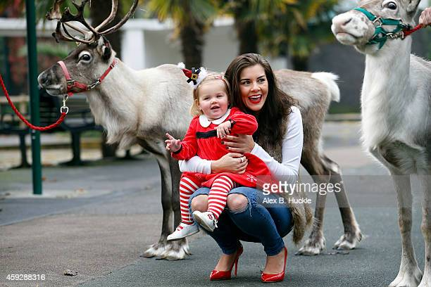 Imogen Thomas pictured with daughter Ariana during the launch for London Zoo's Meet Santa Experience on November 20 2014 in London England Photo by...