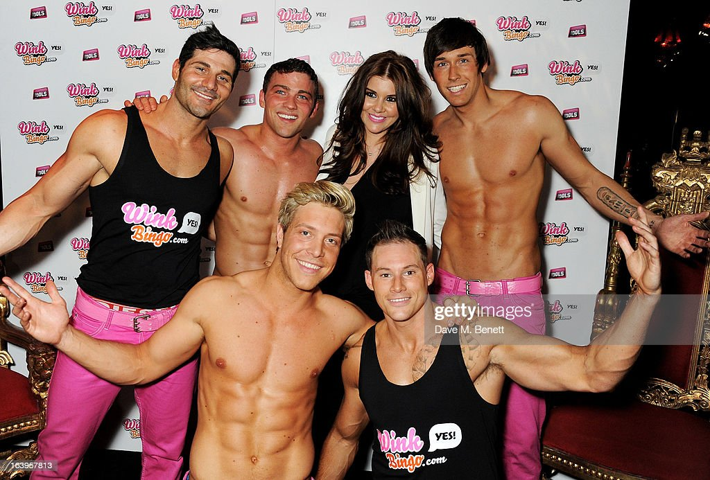 Imogen Thomas (3R) poses with the Dream Idols at Wink Bingo's Gentle Woman's Night featuring a performance from The Dream Idols at Peter Stringfellow's Angels Club on March 18, 2013 in London, England.