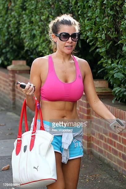 Imogen Thomas seen arriving home after a Bikram yoga session on October 17 2011 in London England